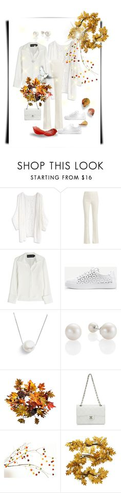 """""""Contest - Chic Color Code. Autumn & White"""" by su-ka74 ❤ liked on Polyvore featuring Chicwish, Giambattista Valli, Brandon Maxwell, WithChic, Chan Luu, Improvements, Chanel and Crate and Barrel"""