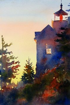 Bass harbor head Light by Theresa Troise Heidel inspiration for painting with scripture Landscape Watercolor Landscape, Watercolour Painting, Landscape Art, Painting & Drawing, Landscape Paintings, Watercolor Trees, Watercolor Portraits, Abstract Paintings, Watercolours