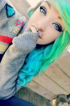 Bright blue and green hair.