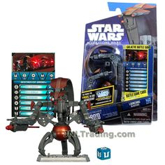 Hasbro Year 2010 Star Wars The Clone Wars Galactic Battle Game Series 4 Inch Tall Action Figure - CW04 DESTROYER DROID with Spring-Open Arms and Body Feature, Battle Game Card, Die and Figure Display Base