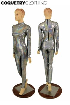 2cbc42f59ab080 Silver Holographic Short (Stella) Collar Neckline Long Sleeve Back Zipper  Catsuit Sparkly Holo Shimm