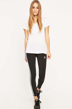 adidas Originals Three Stripe Black Leggings - Urban Outfitters