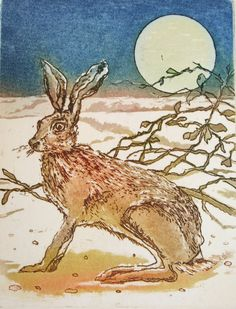 March Hare Moonlit Hare etching by Sally Winter Etchings