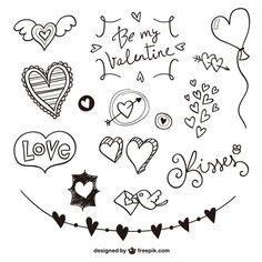 Lettering Brush, Doodle Lettering, Love Doodles, Simple Doodles, Doodle Drawings, Doodle Art, Heart Doodle, Sketch Note, Doodle Borders