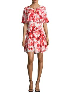 CECE Floating Poppies Print Flared Dress
