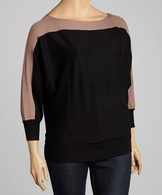 Take a look at this Taupe & Black Color Block Dolman Sweater - Plus by Carol Rose on #zulily today!