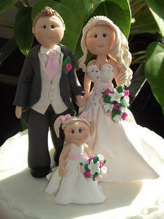 personalizado novia novio & niño torta de bodas personalizada