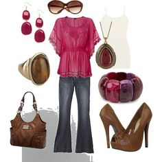 Pink and brown outfit created by kaybraden on Polyvore