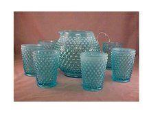 "*FENTON ART GLASS ~  Blue Opalescent Lemonade Set, hobnail ""squat"" jug + 6 tumblers."