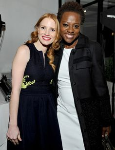 Oscars Parties 2013: The Help's Jessica Chastain and Viola Davis reunited at the Sixth Annual Women in Film Pre-Oscar reception. #Oscars