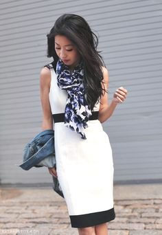 Jean Wang of Extra Petite in our Bow Dress and Floral Print Scarf.