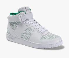 Sneakers Tramline semi-montantes Lacoste en cuir premium Blanc/Vert - Baskets Homme Lacoste - Ventes-pas-cher.com Crocodile, Lacoste, Sport Mode, Sneakers, Wedges, Shoes, Fashion, Green Fabric, Trends
