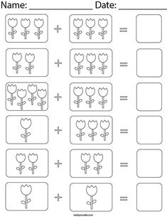 Addition Worksheets First Grade, Coloring Worksheets For Kindergarten, Kindergarten Addition Worksheets, Homeschool Worksheets, Math Literacy, Math Classroom, Math Manipulatives, Activities, Spring