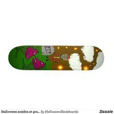 Halloween zombie at graveyard with alien plants skateboard Halloween Zombie, Halloween Night, Skateboards For Sale, Alien Plants, Halloween Design, Artwork Design, Hard Rock, Hard Rock Music