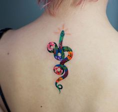 Zihee colorful and joyful snake tattoos