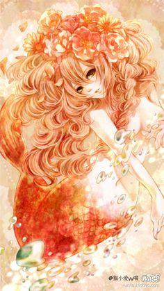 セクシーなマーメイドイラスト オレンジ系漫画 綺麗な美人魚
