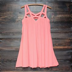 cage flowy dress in coral – paper hearts