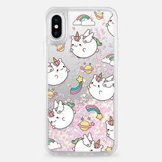 Casetify iPhone X Liquid Glitter Case - Flying Unicorns by Mint Corner