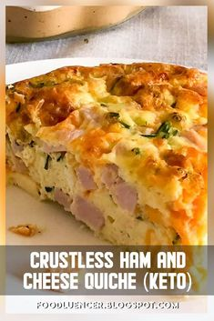 Crustless Quiche is the ideal low carb keto neighborly option in contrast to a great quiche formula. Crustless Quiche is the ideal low carb keto neighborly option in contrast to a great quiche formula. Ham And Cheese Quiche, Keto Quiche, Gluten Free Quiche Recipes Crustless, Atkins Quiche Recipe, Zucchini Quiche Recipes, Quiche Crustless, Ham Quiche, Low Carb Quiche, Keto Cheese