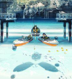 /r/Moescape - Going out fishing [Original] Aesthetic Art, Aesthetic Anime, Anime Lindo, Anime Girl Cute, Manga Illustration, Anime Artwork, Manga Pictures, Anime Scenery, Anime Style
