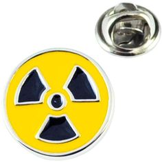 Toxic Radioactive Symbol Lapel Pin Badge ❤ liked on Polyvore featuring jewelry, brooches, pin brooch, pin jewelry, circle jewelry, black and silver jewelry and yellow jewelry