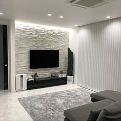 lounge モノトーン モノトーンインテリア 石壁 壁タイル - The world's most private search engine False Ceiling Living Room, Ceiling Design Living Room, Tv Wall Design, Living Room Decor Cozy, Elegant Living Room, Home Room Design, Home Living Room, Home Interior Design, Design Case