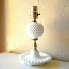 vintage hobnail milk glass lamps