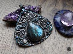 Winter fantasy pendant  Healing crystal  by EarthaCreations #etsy #seller #magickal #magic #labradorite #healing #crystal #wicca #pagan #craft #handmade #jewelry #necklace #pendant #woodland #fairy #fantasy #art #ooak