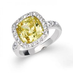 Canary Yellow CZ Cushion Cut 925 Sterling Silver 3ct Engagement Ring