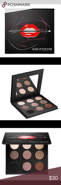 Make Up Forever Eyeshadow Pallette eye shadow palette with nine neutral tones. With its advanced gel-powder formula blended with ultrafine pigments, each nude shade leaves a smooth, even finish that leaves lids ultra-saturated w/highly-blendable. The shades are organized in trios you can create natural& smoky looks.   palette contains:  9 x 0.06 oz Eye Shadow in I-528 Pearl, S-556 Taupe Gray, S-102 Onyx, I-514 Pink Ivory, D-562 Taupe Platinum, I-544 Pink Granite, ME-512 Golden Beige, ME-644…