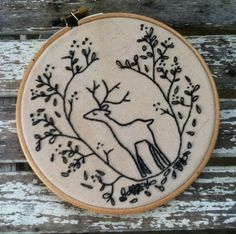 Embroidery hoop art . Deer embroidery . Deer Art . Forest . Black Hoop Art . 6 inch hoop art . Holiday . Christmas .. $48.00, via Etsy.