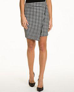 Gingham Asymmetrical Hem Skirt