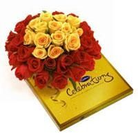 20 Red Roses + 10 Yellow Roses Hand Bucnh + 220gm Cadbury Celebrating. Buy this Anniversary special at just Rs.1,499.