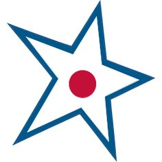 blue, white with red star