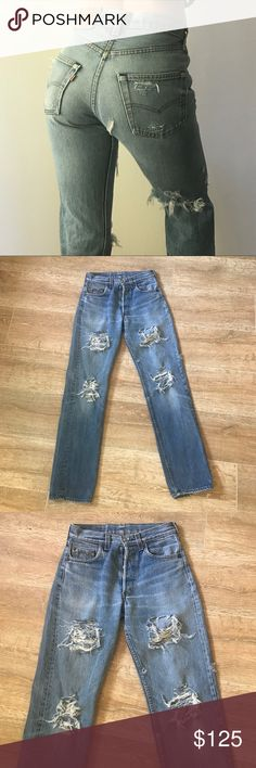 Vintage 501 Levi's Distressed Boyfriend Jeans These jeans are so comfortable and amazing on! They make your booty look fantastic!!!! Fits size 24-25, I am modeling and typically wear size 0 and 24/25 depending on the fit, these can be rolled up or left unrolled 👌💃🏼 black For Love and Lemons top for sale in my closet too! Levi's Jeans Boyfriend