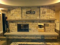 Rustic See Thru Fireplace Fieldstone Fireplace Limestone Mantel Limestone Hearth Built In Wood Holder Custom Pilgrim Hearth Screen Rustic Fireplaces, Cottage Ideas, Fireplace Design, Pilgrim, Hearth, Building, Wood, Log Burner, Home