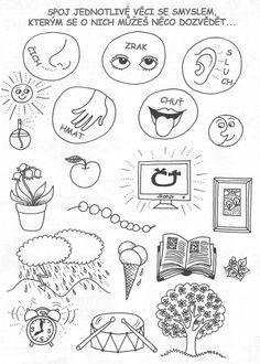 Spoj jednotlivé věci se smyslem, kterým se o nich můžeš něco dozvědět First Grade Worksheets, Preschool Worksheets, Baby List, Special Education Teacher, Lego City, Educational Activities, Primary School, Speech Therapy, Human Body