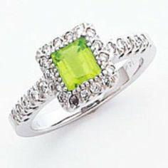 peridot and diamond ring white gold princess cut | 41ARww4yrhL._SY300_.jpg