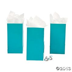 Turquoise Mini Treat Bags - Oriental Trading.  This has a Tiffany's feel.