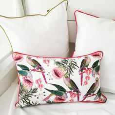 Add a pop of colour with this botanical print cushion