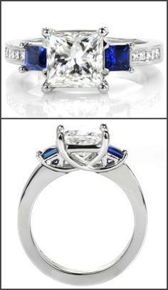 This simple but unique classic engagement ring takes a modern look with graduating elevations and regal color accents. The center 1.50 carat princess cut diamond is flanked by two deep blue square cut blue sapphires. Continuing an elevation step, the band is dressed with channel set princess cut diamonds and woven trellis prongs. Contact us to design your ring by clicking on the pin.