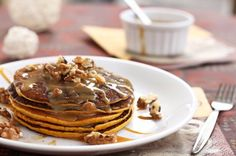 Pumpkin Pancakes with Caramel Syrup & Pecans — #Food #Breakfast #Recipe via @thewickednoodle