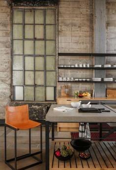 Kitchen in Venice Loft by Alexander Design on Loft Interior Design, Loft Design, House Design, Modern Design, Grey Kitchens, Home Kitchens, Loft Interiors, Industrial Interiors, Industrial Office