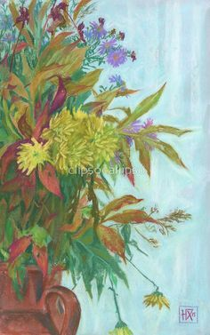 """""""Fall bouquet with chrysanthemum and autumn foliage"""" by clipsocallipso 