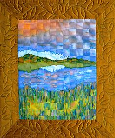"Statement by the quilt artist Linda Grass. ""This is actually two fabric paintings of the wetlands of the San Francisco Bay that have been cut into strips and rewoven together. The cutting of the fabric represents the damage we have done to the bay and the reweaving represents an attempt to make it whole again"". Interesting stuff."