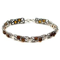 Sterling Silver Honey Amber Rectangular Bracelet 7