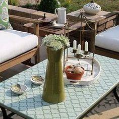 DIY Refurbished coffee end table using Dollar Tree sea glass