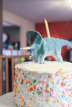 Dinosaur Birthday party, cake and decorations