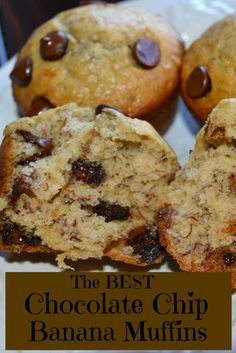 The best Chocolate Chip Banana Bread Muffin. Yum!