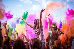 Festival of colors. Radha Krishna Temple, Holi Festival Of Colours, Color Powder, Festivals, Holiday, Spanish Fork, Image, Concerts, Positive Vibes
